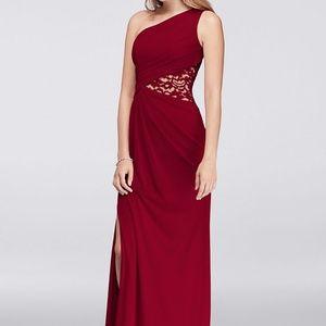 David's Bridal l One-Shoulder Mesh Dress with Lace